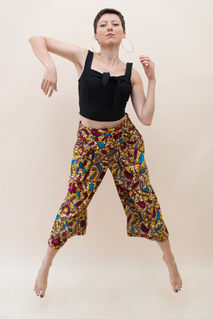 Three Quarter Pants - African, yellow with patterns