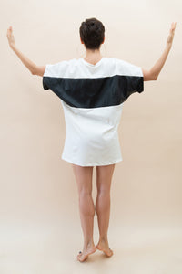 White and Black Geometry T-shirt Dress
