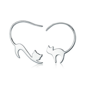 925 Sterling Silver Cute Little Cat  Earrings DromedarShop.com Online Boutique