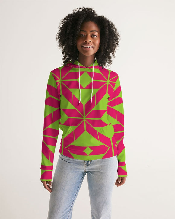Aztec-Inka Collection Aztec Pink-Green pattern Women's Hoodie DromedarShop.com Online Boutique