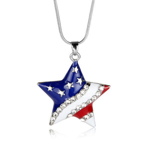 Fashion Jewelry High Quality American Flag Heart & Star Necklace DromedarShop.com Online Boutique