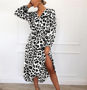 Women Leopard Printed Long Maxi Dress