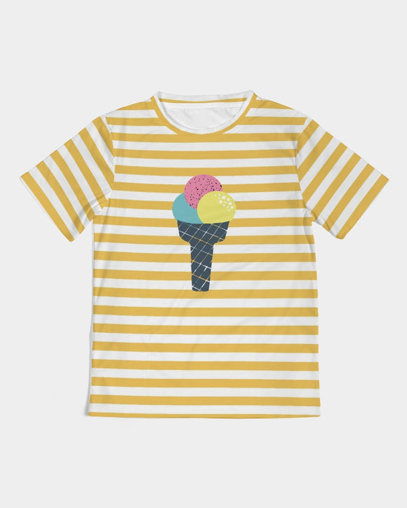 Yellow Stripes on White Kids Tee DromedarShop.com Online Boutique