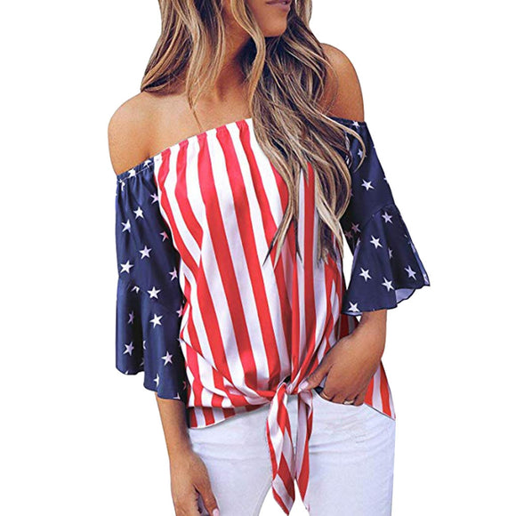 Women's Off Shoulder Independence Day T Shirt 4th of July USA Flag - DromedarShop.com Online Boutique