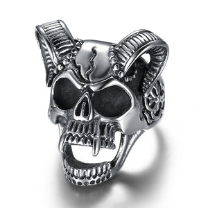 Skull Head of Sheep Titanium Rings - DromedarShop.com Online Boutique
