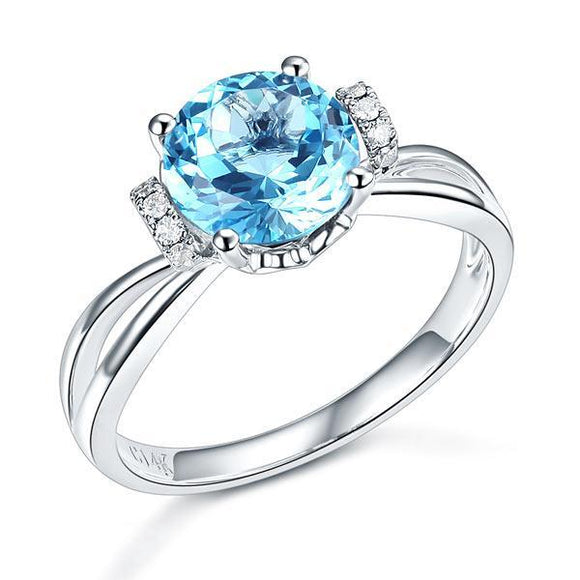 14K White Gold Wedding Promise Ring 2 Ct Swiss Blue Topaz Natural Diamond
