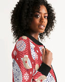 Red Christmas Women's Bomber Jacket DromedarShop.com Online Boutique