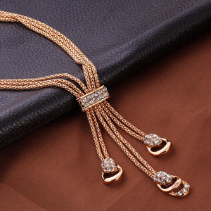 Rose Gold Color Crystal Necklace Earring Bracelet Ring Jewelry Sets
