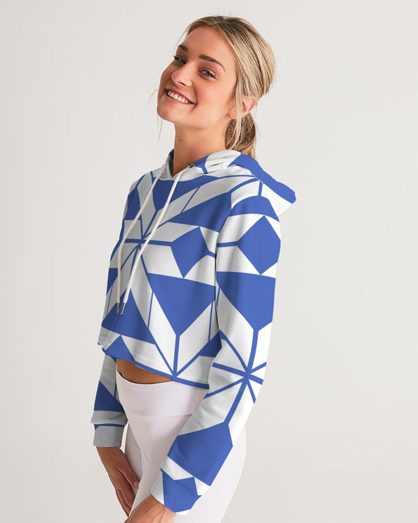 Aztec-Inca Collection Aztec Blue and White pattern Women's Cropped Hoodie DromedarShop.com Online Boutique