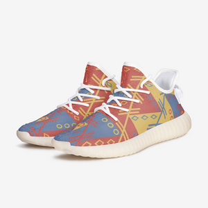 Aztec Red Gold Blue pattern Unisex Lightweight Sneaker YZ Boost DromedarShop.com Online Boutique