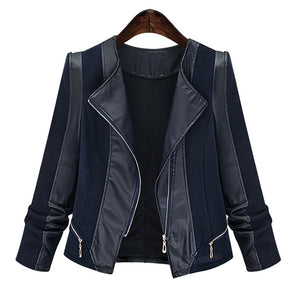 Plus Size Chic Zipped Leather Patchwork Jacket For Women DromedarShop.com Online Boutique
