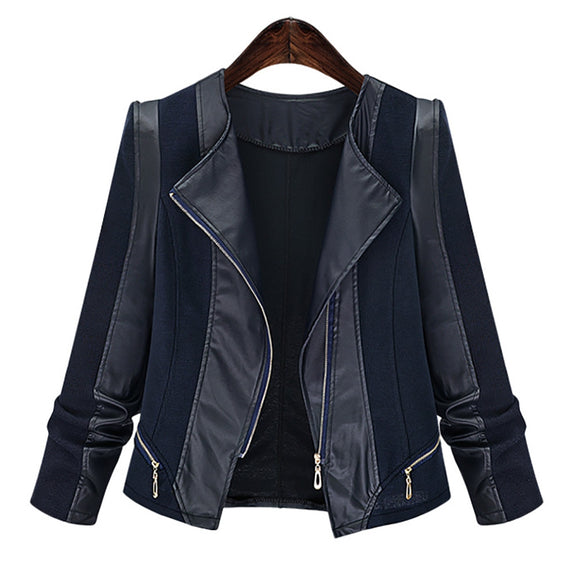 Plus Size Chic Zipped Leather Patchwork Jacket For Women - DromedarShop.com Online Boutique