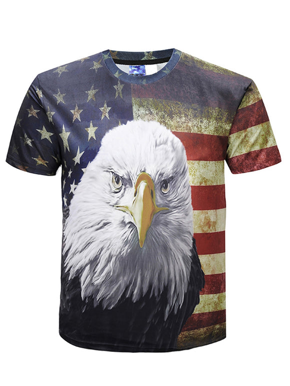 US Patriot Eagle Stars Print Short Sleeve T-shirt - DromedarShop.com Online Boutique
