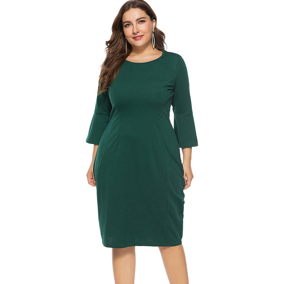 Plus Size Bell Sleeve Sheath Dress - DromedarShop.com Online Boutique