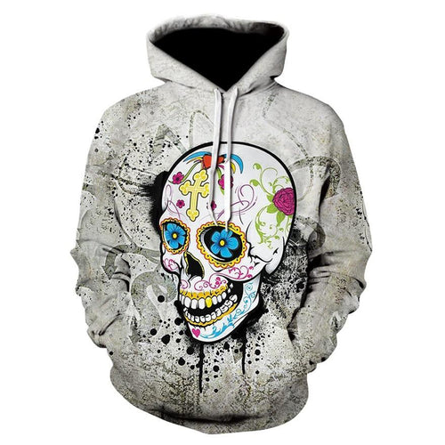 Men Women Halloween Skull Digital Printing Long-sleeve Hoodies