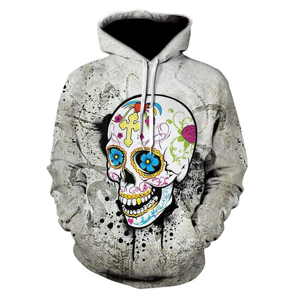 Halloween Skull Digital Printing Long-sleeve Hoodies - DromedarShop.com Online Boutique