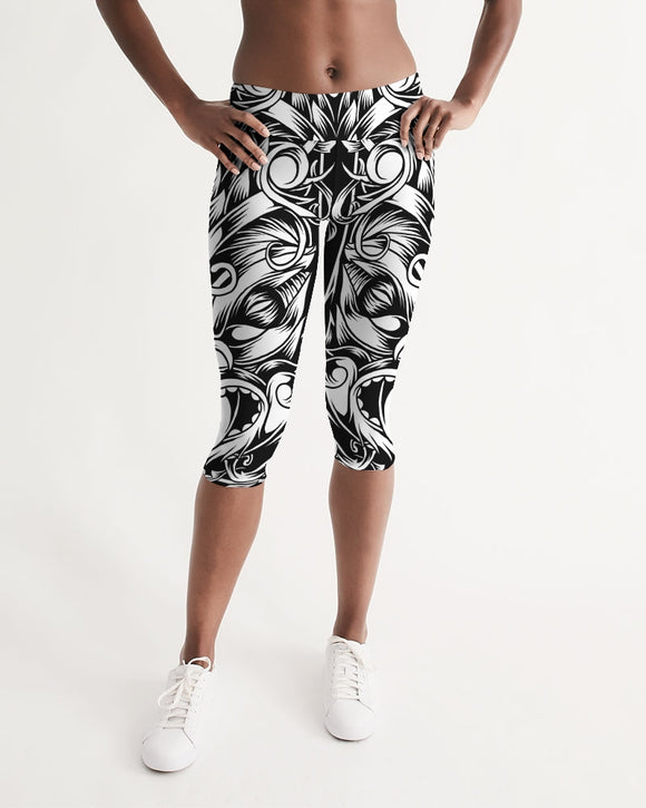 Maori Mask Collection Women's Mid-Rise Capri DromedarShop.com Online Boutique