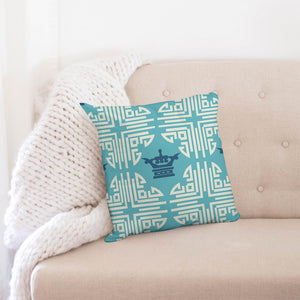 "Chinese Print Blue Throw Pillow Case 18""x18"" DromedarShop.com Online Boutique"