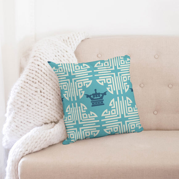 Chinese Print Blue Throw Pillow Case 18