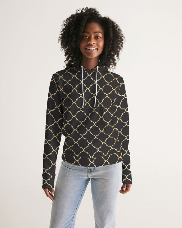 The Miracle of the East  Gold Black Arabic pattern Women's Hoodie DromedarShop.com Online Boutique