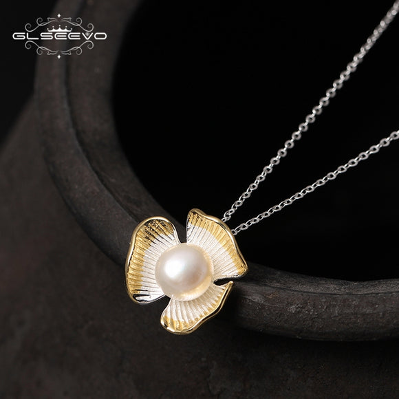 925 Sterling Silver Natural White Pearl Pendant Necklace