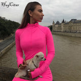 Long sleeve high neck zipper high waist bodycon stretchy dresses DromedarShop.com Online Boutique