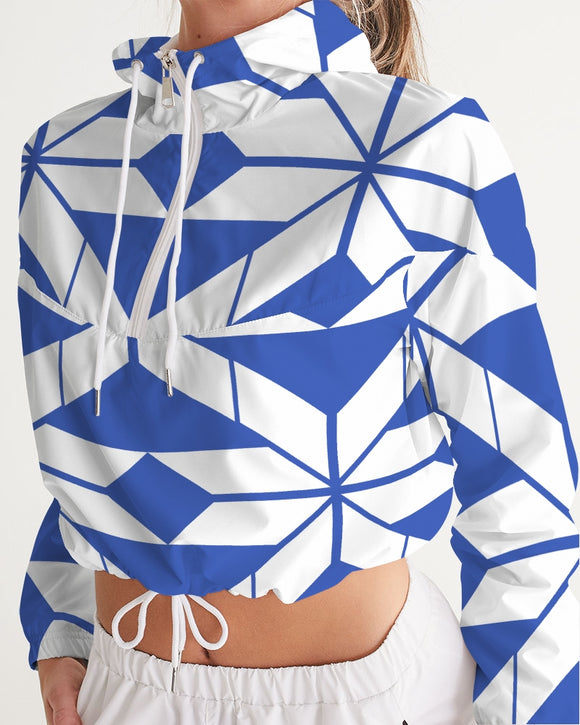 Aztec-Inca Collection Aztec Blue and White pattern Women's Cropped Windbreaker DromedarShop.com Online Boutique