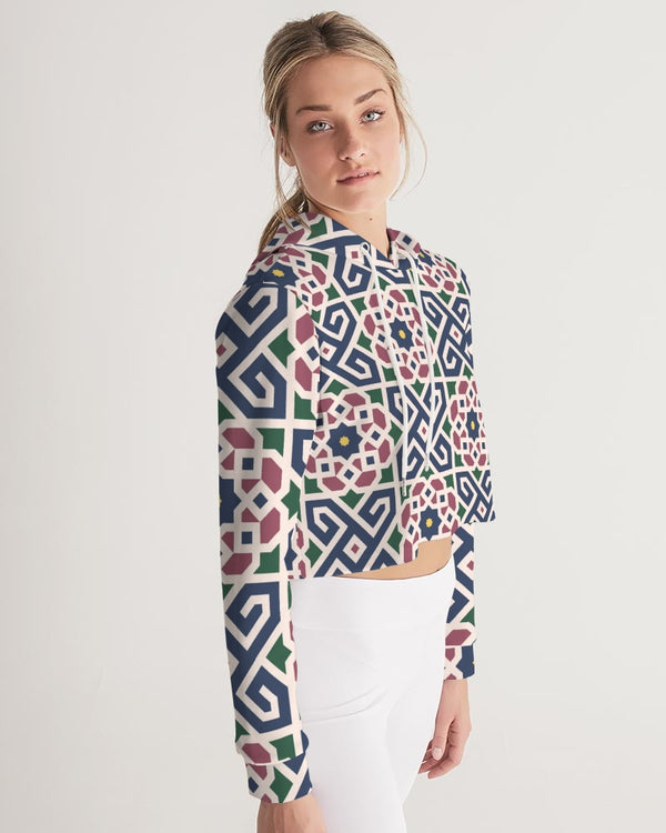 The Miracle of the East Moroccan pattern Women's Cropped Hoodie DromedarShop.com Online Boutique