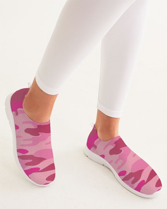 Pink  3 Color Camouflage Women's Slip-On Flyknit Shoe DromedarShop.com Online Boutique