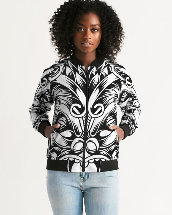 Maori Mask Collection Women's Bomber Jacket DromedarShop.com Online Boutique