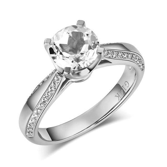 14K White Gold Bridal Wedding Engagement Ring 1.2 Ct Topaz 0.2 Ct Natural Diamond