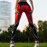 Red Black Women's Fitness Leggings - DromedarShop.com Online Boutique