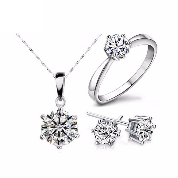Cubic Zircon Statement Necklace & Earrings Rings Wedding Jewelry Sets