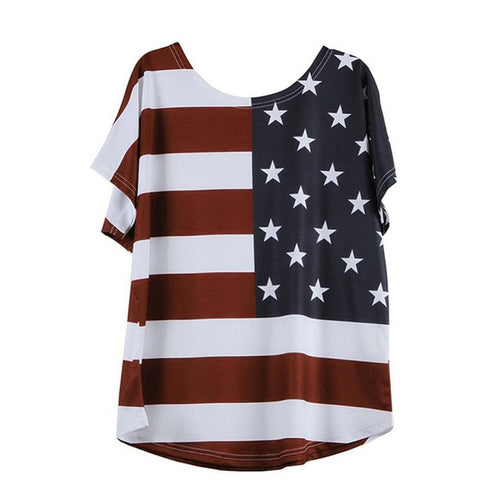 Women Fashion Plus Size  USA Flag America T Shirt