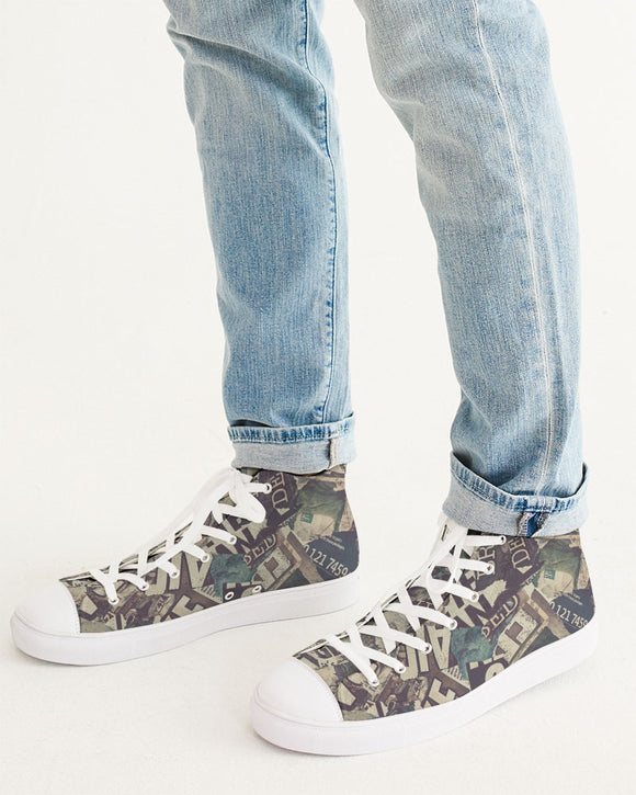 Newspaper Men's Hightop Canvas Shoe DromedarShop.com Online Boutique