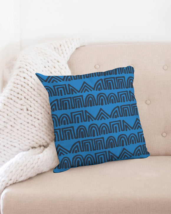 Doodle on blue Throw Pillow Case 18