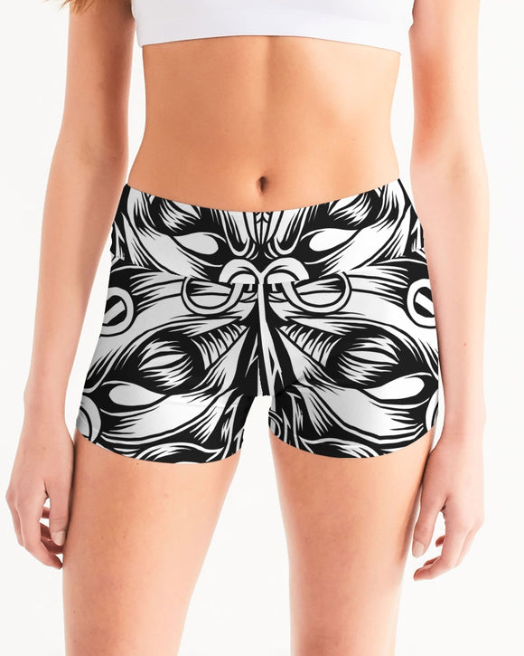 Maori Mask Collection Women's Mid-Rise Yoga Shorts DromedarShop.com Online Boutique