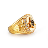 Vintage Crystal Masonic Gold Color Men Ring - DromedarShop.com Online Boutique