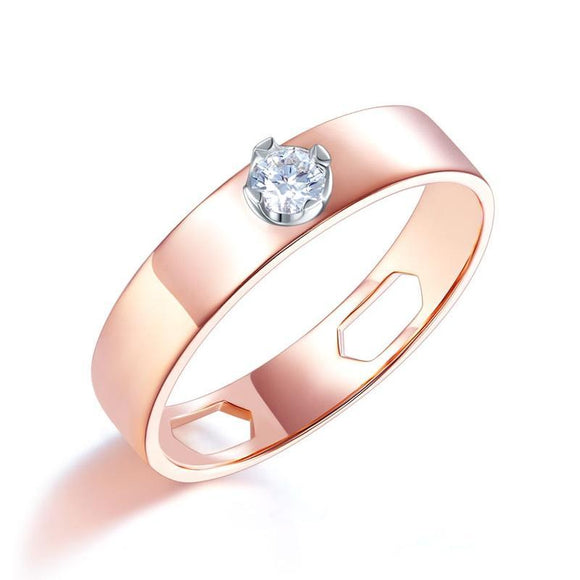 Women 14K Rose Gold Wedding Band Women Ring Natural Diamond