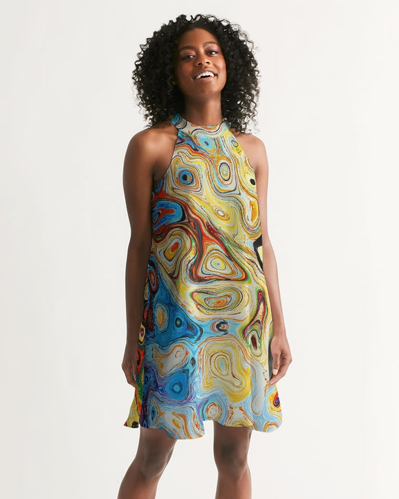 You Like Colors Women's Halter Dress DromedarShop.com Online Boutique
