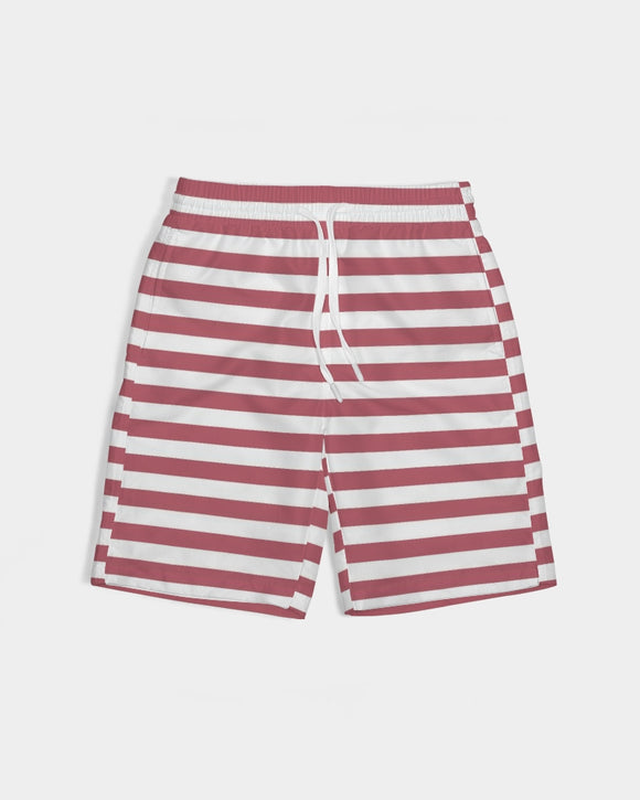 Red Stripes on White Boy's Swim Trunk DromedarShop.com Online Boutique