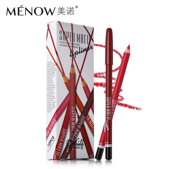 12pcs/box Menow Super Matte Lip Liner Set DromedarShop.com Online Boutique