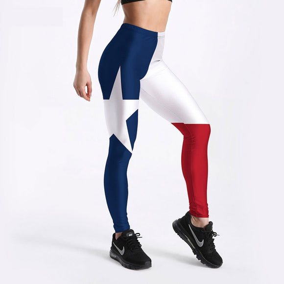 Women US Flag Pentagram Printed Fitness Leggings DromedarShop.com Online Boutique