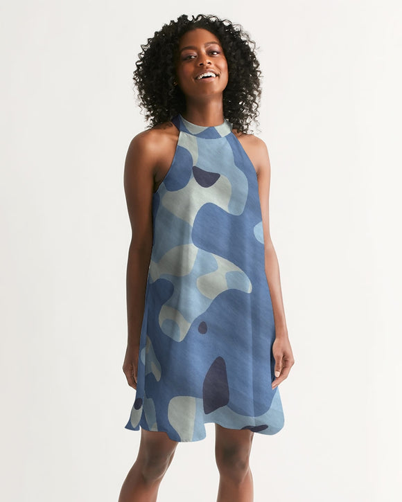 Blue Maniac Camouflage Women's Halter Dress DromedarShop.com Online Boutique