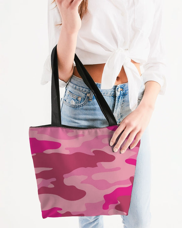Pink 3 Color Camouflage Canvas Zip Tote DromedarShop.com Online Boutique