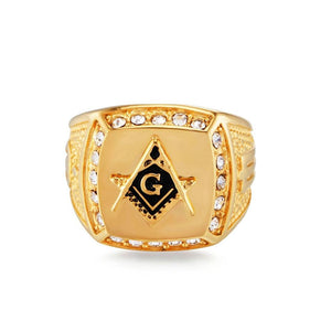 Vintage Crystal Masonic Gold Color Men Ring DromedarShop.com Online Boutique