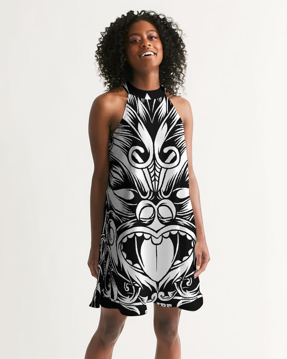 Maori Mask Collection Women's Halter Dress DromedarShop.com Online Boutique