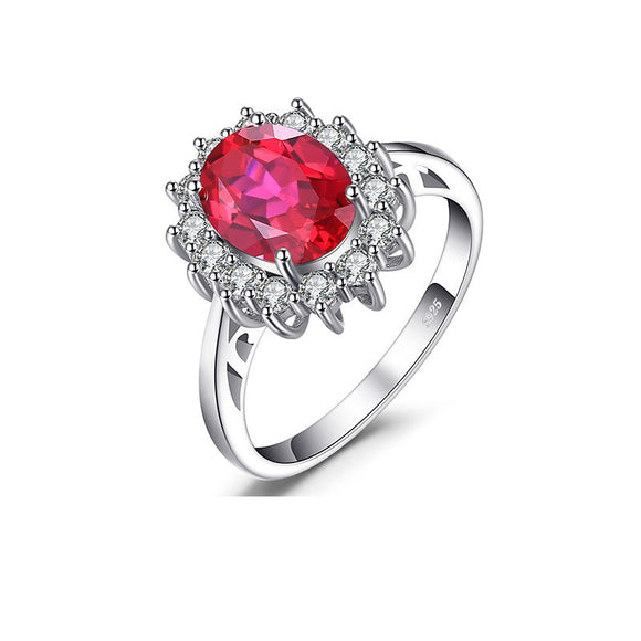 Engagement Wedding Red Ruby Ring  925 Sterling Silver Jewelry
