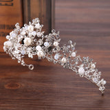 Silver Crystal Bridal Tiara With Pearls Headband Wedding Crown DromedarShop.com Online Boutique