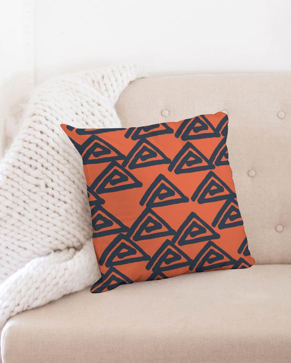 Triangle pattern on orange Throw Pillow Case 18